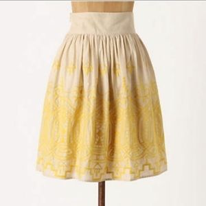 Anthropologie Tiny Sunstitched Embroidered Skirt M